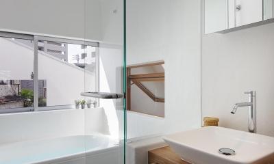 洗面室より浴室を見る。|スキップフロアがつくる快適空間 (白金の家)