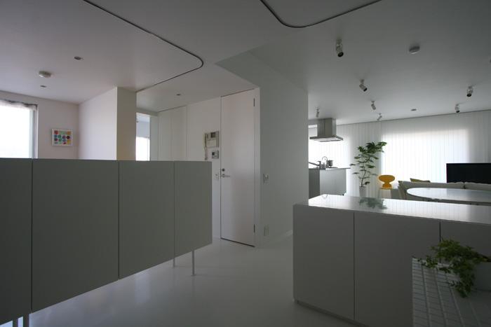 大倉山のマンション_リノベーションの部屋 天井に間仕切り用カーテンレール