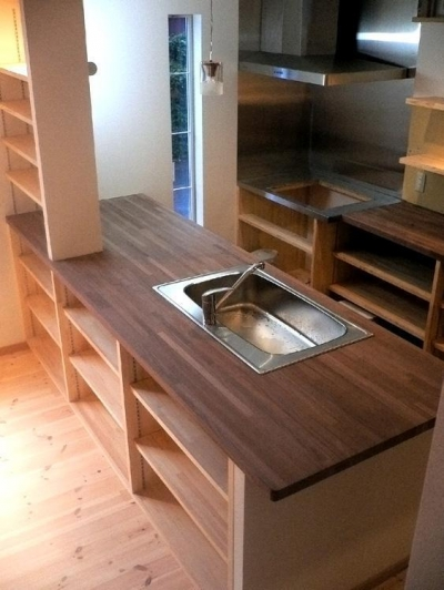 オープンキッチンと本の家 (キッチン)