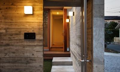 中庭のある家~光と風の通るガレージハウス~ (玄関アプローチ(撮影:中村絵))