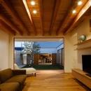 中庭のある家~光と風の通るガレージハウス~の写真 全面開口のリビング3(撮影:中村絵)
