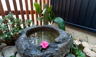 和室から見える水庭|南浅田の家~大きな中庭のある家~