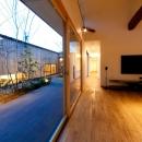 南浅田の家~大きな中庭のある家~の写真 中庭とリビング