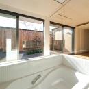 南浅田の家~大きな中庭のある家~の写真 ガラス張りの浴室