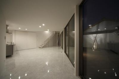 リビングとデッキ-夜景(撮影:加斗タカオ) (三角プランの家~斜め線で室内と室外に分かれる家~)