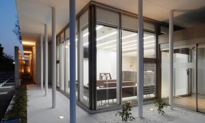 外から待合室を見る|県立大学前クリニック~低く構えた シンプルなクリニック~