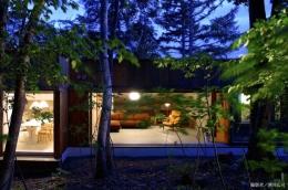 雁木のある家 (外観-夜景(撮影:酒井広司))