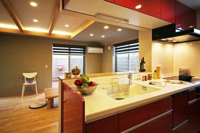 床座リビングの家 (キッチン)