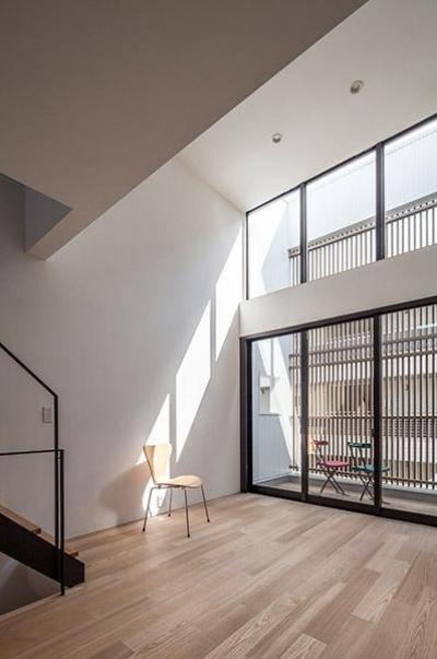白糸台の家 (吹き抜けのリビング(撮影:平井広行))