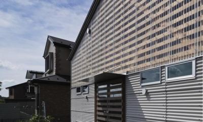 クローバー畑に面する大屋根の平屋 外観|『外・〈外〉・《外》』家の中に家がある!