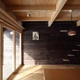 新琴似K邸―庇のある家― (猫階段のあるリビング1)