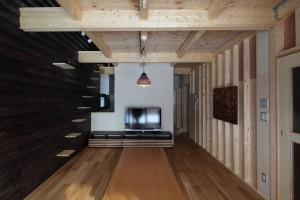 新琴似K邸―庇のある家― (猫階段のあるリビング2)