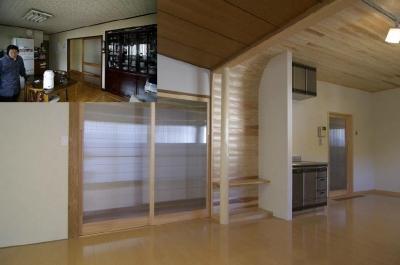 高崎S邸・高気密高断熱化・暖かく生まれ変わった家 (リビング内の床の間コーナー)
