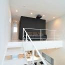 I邸・リビング階段に囲まれた吹抜けのプライベート空間