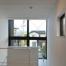 コの字型の階段 (I邸・リビング階段に囲まれた吹抜けのプライベート空間)
