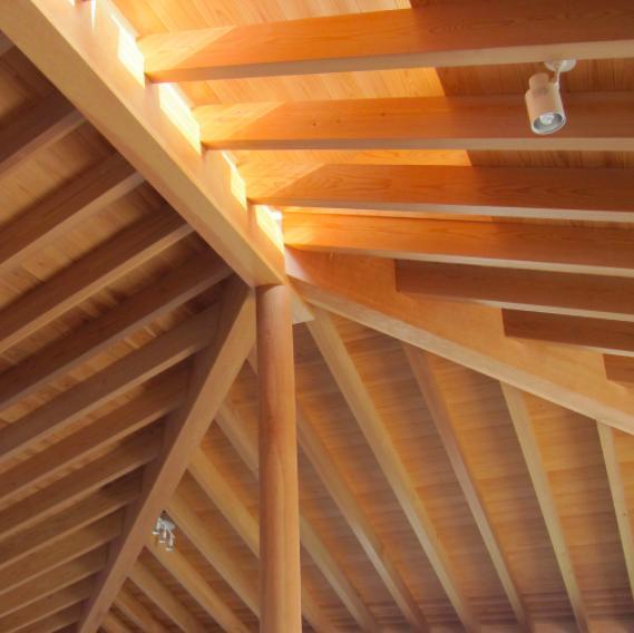 I-house・RC+木造の大屋根の家の部屋 垂木天井