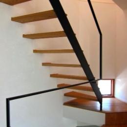 I-house・RC+木造の大屋根の家-階段