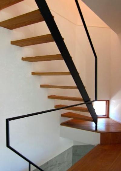 I-house・RC+木造の大屋根の家 (階段)