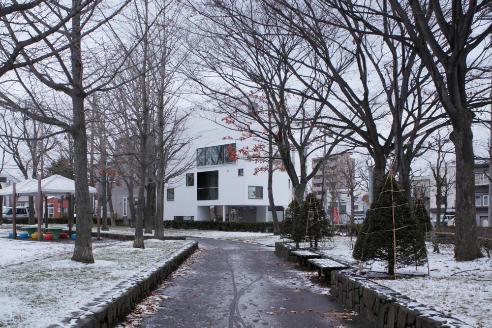 白のコラージュ (公園からの外観(冬))