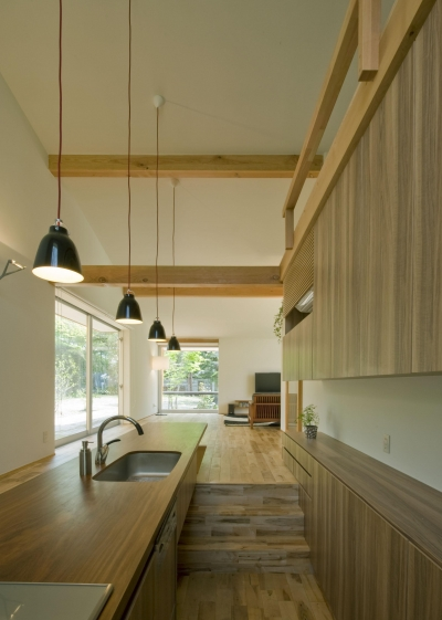 木立の家 (キッチンとダイニングテ-ブル)