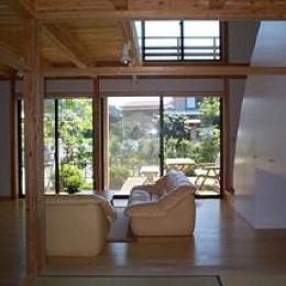 八幡の家 (和室よりリビングを見る)