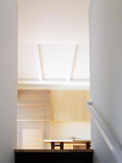 ボックスパズルの家 (階段からリビングを見る)