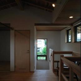 安曇野の家2 (2階多目的ホールより階段室を見る)