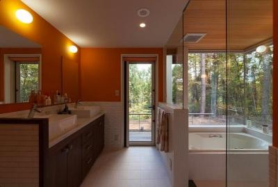 洗面脱衣室・浴室 (蓼科の家)