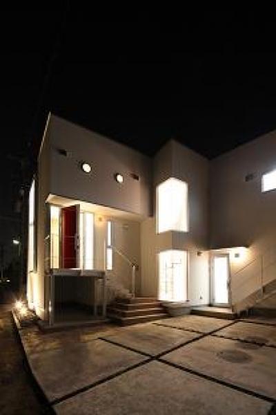 豊山町の家 (外観-夜景)