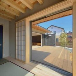 和モダンの家 (和室よりデッキを見る)