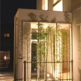 安東の家2(勝又邸) (ガラスボックスの玄関-夜景)