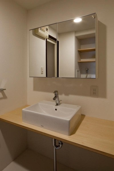 洗面室 (引き算の家|シンプル・ナチュラルなマンションリノベーション【京都市】)