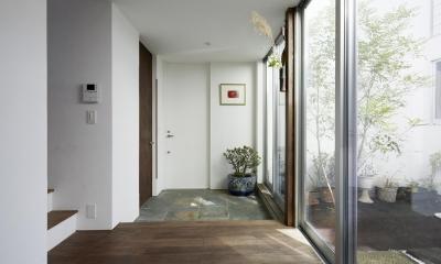鎌倉の家 旗竿敷地に建つ中庭のある家 (中庭と繋がる玄関)