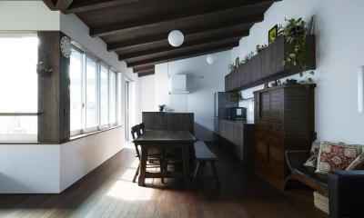 鎌倉の家 旗竿敷地に建つ中庭のある家 (家具に合わせてデザインされたLDK)