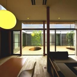 中庭を回遊する家-LDKより中庭を見る