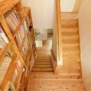 武豊の家の写真 壁一面本棚の階段室