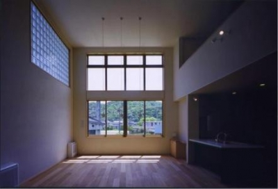 天井高4m85cmのリビング(撮影:絹巻豊) (西浜の家)
