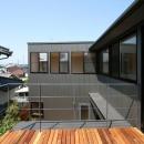 裾野の家の写真 2階デッキより西ウィングを見る