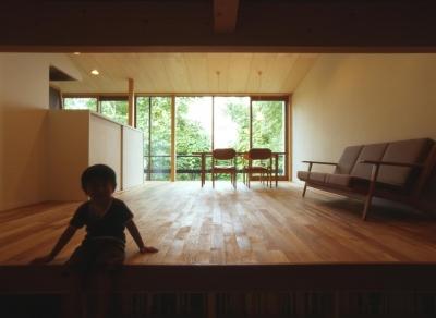 西野の家 (書斎から居間を見る)