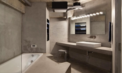 ドレスルームのあるコンクリートアパートメント (洗面室・浴室)