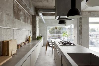 ダイニングキッチン (ドレスルームのあるコンクリートアパートメント)