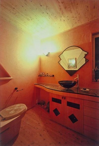 造作家具のトイレ (住まう人と共にリズムを刻む家)