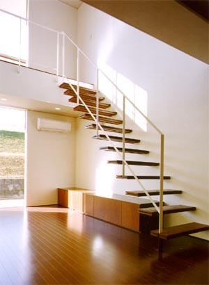 米が瀬町の家の部屋 階段1(撮影:喜多章)