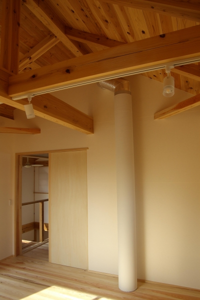 寝室 (パッシブソーラー(そよ風)の小さな木の家)