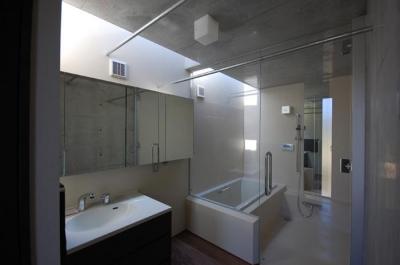 洗面・浴室 (呉羽山を望む事務所兼住宅)