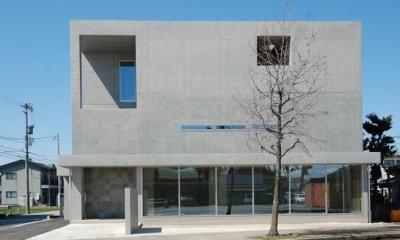 ガラスとコンクリートの対比 (道路側外観1)