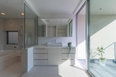 洗面・浴室(撮影:谷川ヒロシ) (尾張旭の住宅)