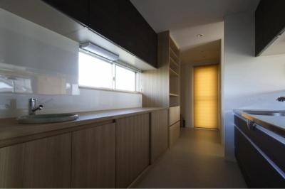 シンプルなキッチン (『鳥の海の家』〜回遊性を持たせたアットホームな店舗併用住宅〜)