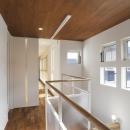 光の差し込む2階廊下