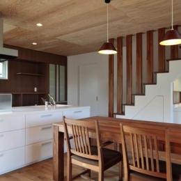 階段下に洗面スペースがあるDK (『月と暮らす庵(イエ)』〜浴室・茶室にこだわった和テイストの住まい〜)